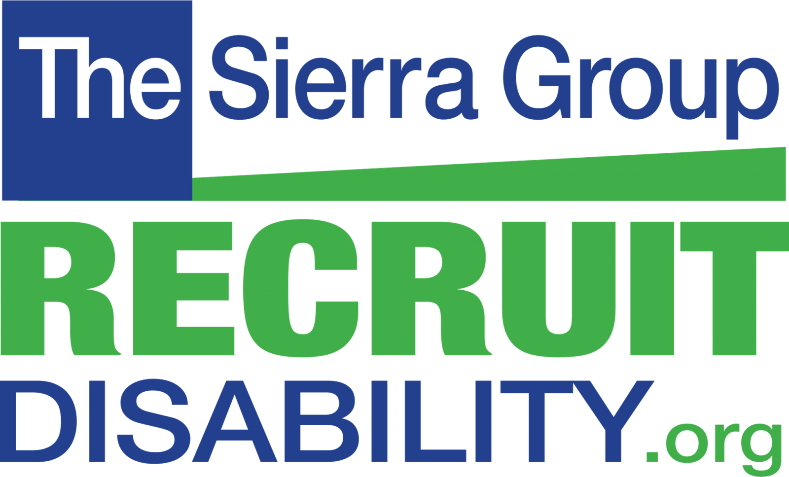 The Sierra Group Recruit Disability org blue and green logo. It is a square shape. At the top is the word the in a blue box and then to the right of that in blue it says Sierra Group. Below that is the green bold word recruit and below that the words disability in blue and org in green.
